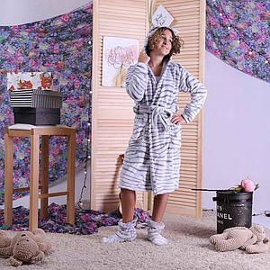 "Дитячий теплий махровий халат на запах ""Шиншила"" з вушками (вельсофт) 34-42р"