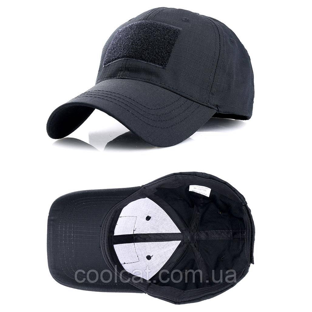 Тактическая кепка-бейсболка шестиклинка черный с патчем