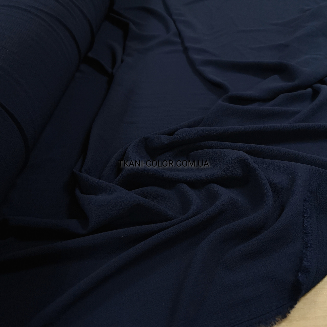 Ткань креп-шифон бабл темно-синий