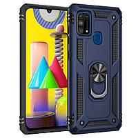 Противоударный чехол для Samsung Galaxy M30S (SM-M307), Eastmate, синий, с кольцом