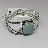Ларимар браслет с ларимаром браслет-манжет с камнем ларимар (Доминикана) в серебре., фото 3