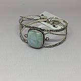 Ларимар браслет с ларимаром браслет-манжет с камнем ларимар (Доминикана) в серебре., фото 2