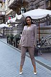 Женский брючный костюм тройка пиджак+блуза+брюки батал размер:48-50,52-54,56-58,60, фото 4