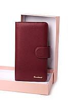 Женский бордовый кошелек из натуральной кожи портмоне Cardinal кожаный женский кошелек клатч