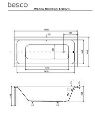 Акриловая ванна MODERN 160х70 Slim Besco PMD Piramida прямоугольная, фото 3