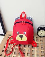Детский рюкзак мягкий для девочки Мишка красный Код Ф-4, фото 1