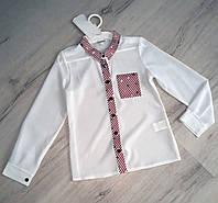 Шкільна блузка для дівчинки біла з червоним кантом 122-146 зростання