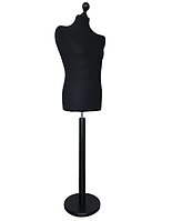 Манекен чоловічий виробник Ailant розмір 50/52 в чорному чохлі на чорній круглій підставці