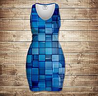 Платье-майка 3D-Голубые кубики