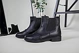 Жіночі зимові чорні шкіряні черевики на гумці, фото 9