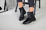 Жіночі зимові чорні шкіряні черевики на гумці, фото 6