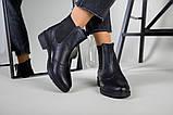 Жіночі зимові чорні шкіряні черевики на гумці, фото 10