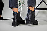 Жіночі зимові чорні шкіряні черевики на гумці, фото 8