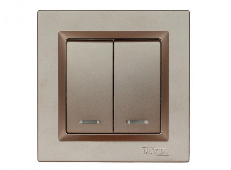 Выключатель двойной с подсветкой Luxel JAZZ (9206) Терракотовый