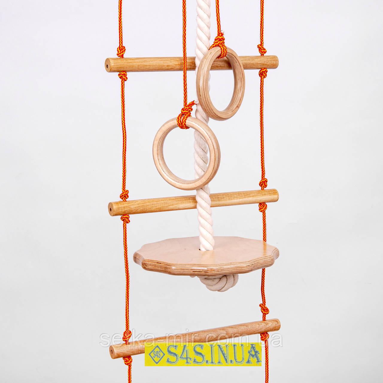 Дитячий набір для шведської стінки з дерева «ПРЕМІУМ» з тарзанкою підвісний мотузковий