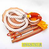 Дитячий набір для шведської стінки з дерева «ПРЕМІУМ» з тарзанкою підвісний мотузковий, фото 2
