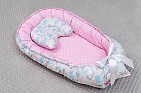 Кокон гнездышко для новорожденных с рисунком Единороги с мороженым