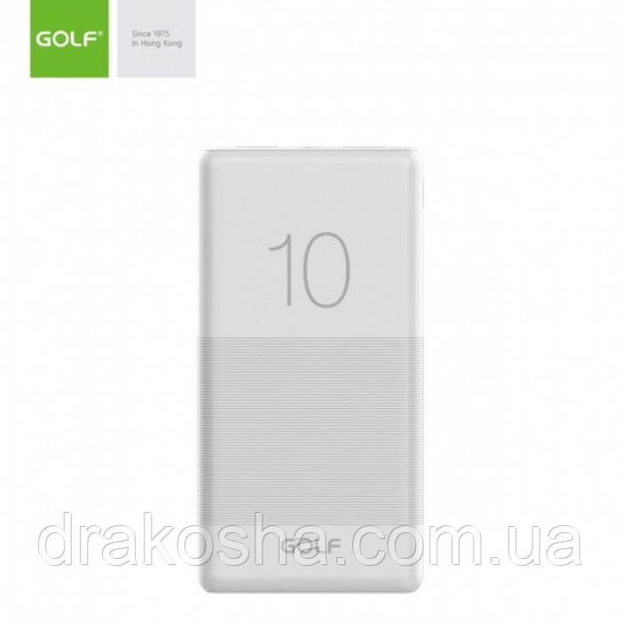 Внешний аккумулятор Power bank GOLF G80 10000 Mah батарея зарядка Белый