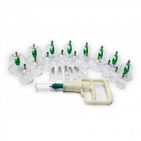 Вакуумные антицеллюлитные массажные банки 24 штуки с насосом