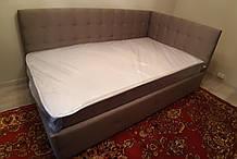 Кутове ліжко Сапфір в м'якій оббивці