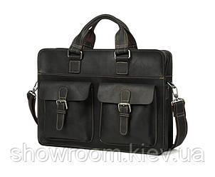 Мужская кожаная сумка портфель Wild Leather (262) черная