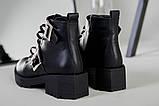 Женские демисезонные черные кожаные ботинки с лямками, фото 5