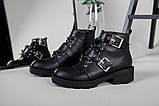 Женские демисезонные черные кожаные ботинки с лямками, фото 3