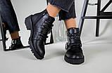 Женские демисезонные черные кожаные ботинки с лямками, фото 2