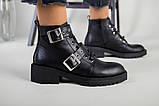 Женские демисезонные черные кожаные ботинки с лямками, фото 6