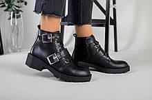 Женские демисезонные черные кожаные ботинки с лямками