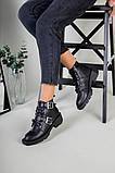 Женские демисезонные черные кожаные ботинки с лямками, фото 10