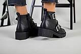 Женские демисезонные черные кожаные ботинки с лямками, фото 4
