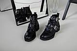 Женские демисезонные черные кожаные ботинки с лямками, фото 7