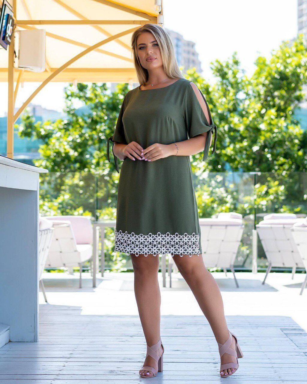 Стильное, женское платье со вставками кружева ткань *Креп - Лен* 52 размер