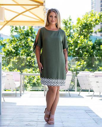 Стильное, женское платье со вставками кружева ткань *Креп - Лен* 52 размер, фото 2