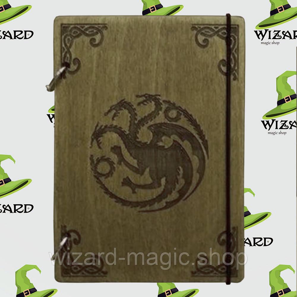 Деревянный скетчбук А5 Игра Престолов Герб Таргариенов (мореное дерево)