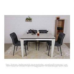 Стол обеденный ALTA (120(+50)*80*76 cm керамика) белый, Nicolas