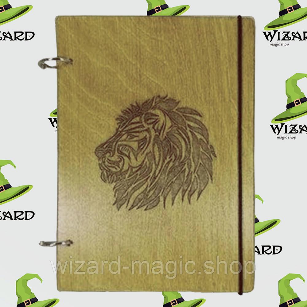 Деревянный скетчбук А5 Лев (мореное дерево)