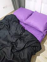 """Постельное белье евро размер """"Однотонка черный+фиолет"""""""