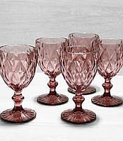Цветные бокалы розовые для вина, набор 6 шт*240 мл