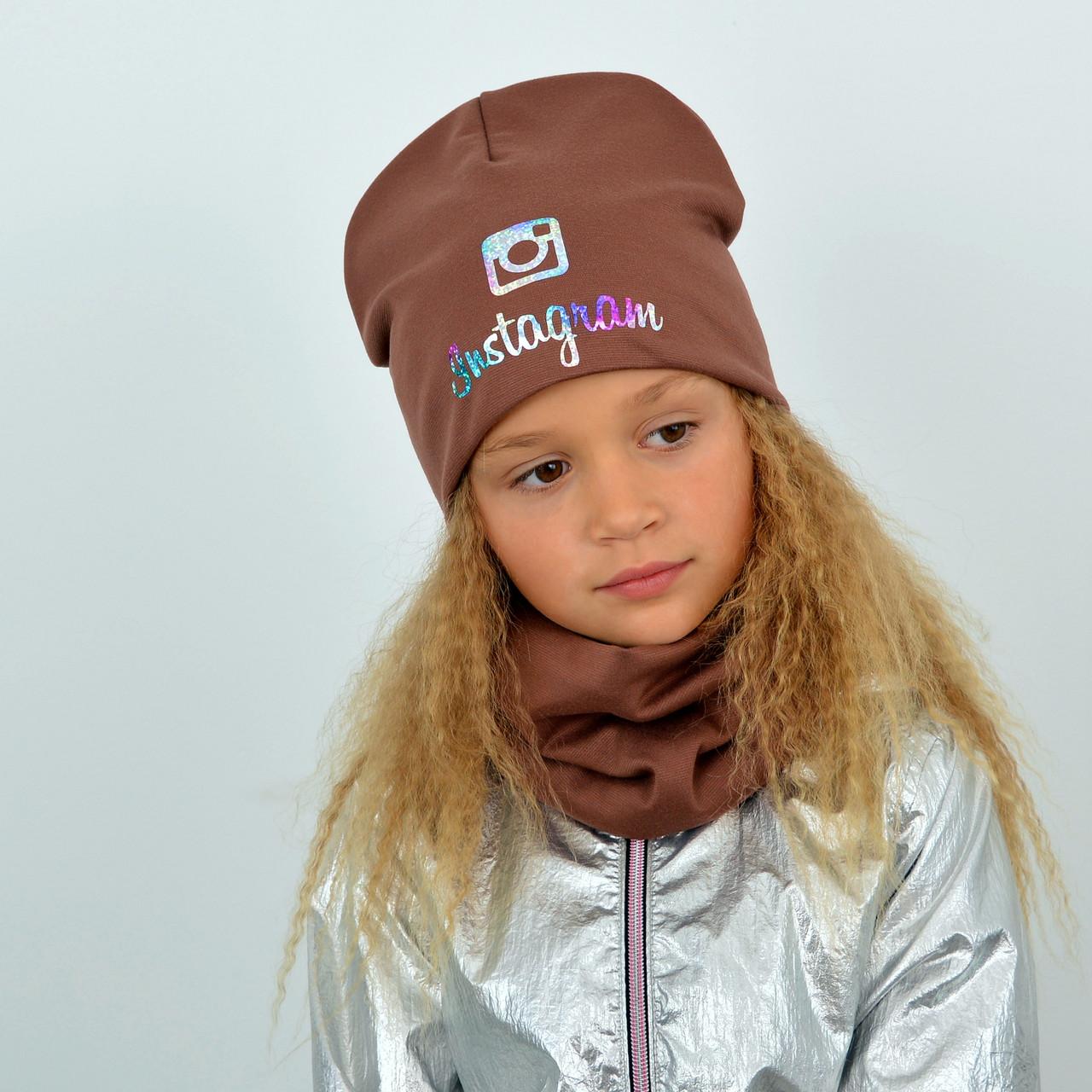 Детский трикотажный комплект на флисе оптом (шапка+хомут) Instagram коричневый+голограма