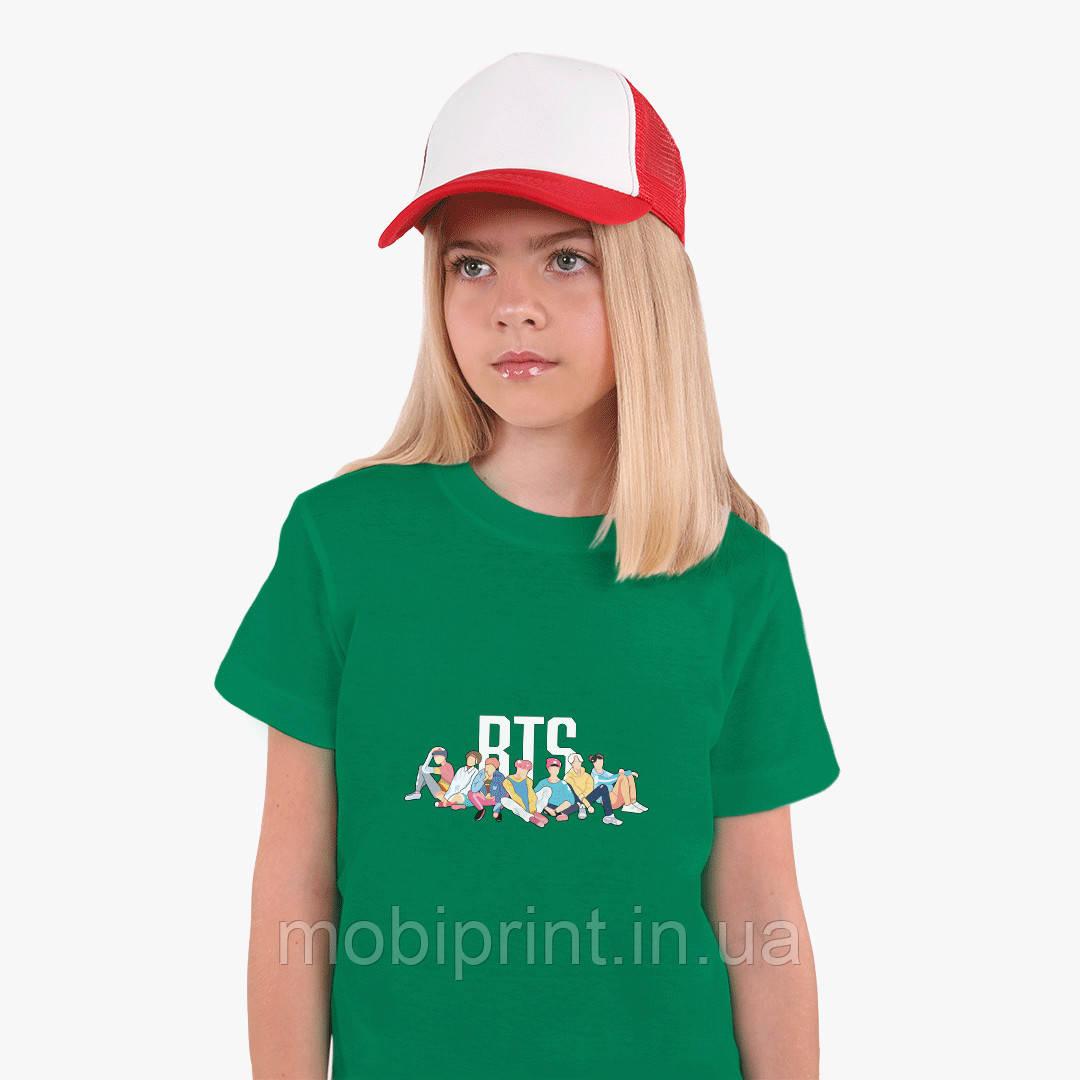 Детская футболка для девочек БТС (BTS) (25186-1061) Зеленый