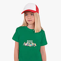 Детская футболка для девочек БТС (BTS) (25186-1061) Зеленый, фото 1