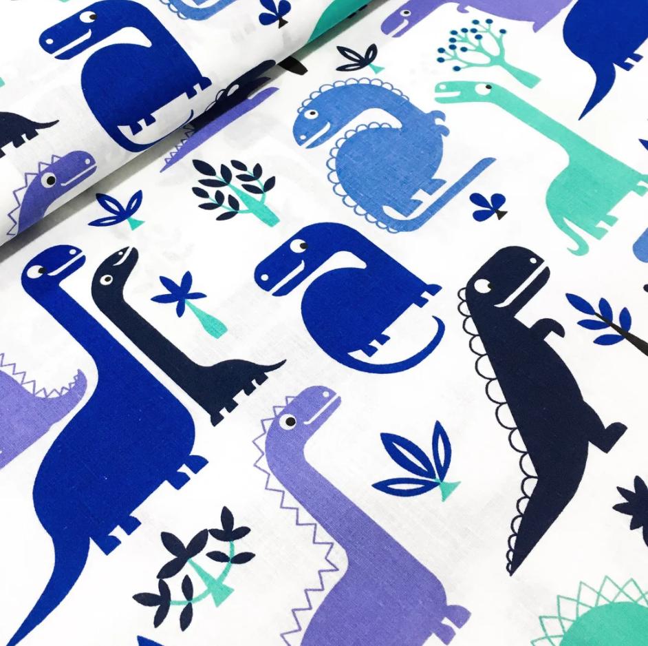 """Польская хлопковая ткань """"Динозавры синие"""""""