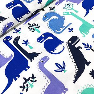 """Польская хлопковая ткань """"Динозавры синие"""", фото 2"""