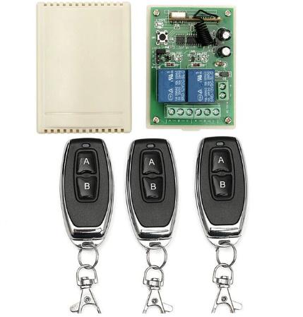 Универсальный беспроводной двух канальный модуль дистанционного управления 3 пульта 433 МГц, 12 в