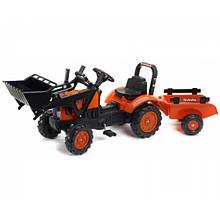 Дитячий трактор Falk на педалях з причепом з ковшем помаранчевий 2065AM Kubota