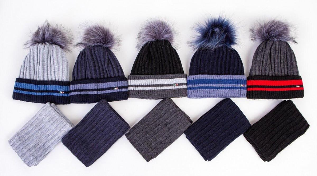 Комплект (шапка та хомут) на зиму для хлопчика з помпоном оптом - Артикул 2560