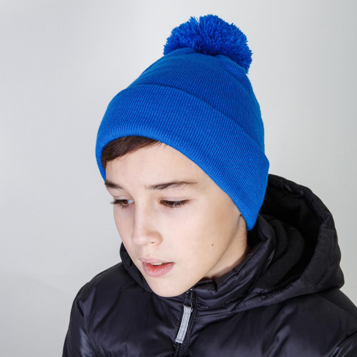 Модная зимняя шапка для мальчика с помпоном оптом - Артикул 2809
