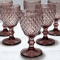 Набор бокалов из цветного розового стекла 240 мл